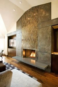 Fireplace Wall. Flush wall with glass tile and metal