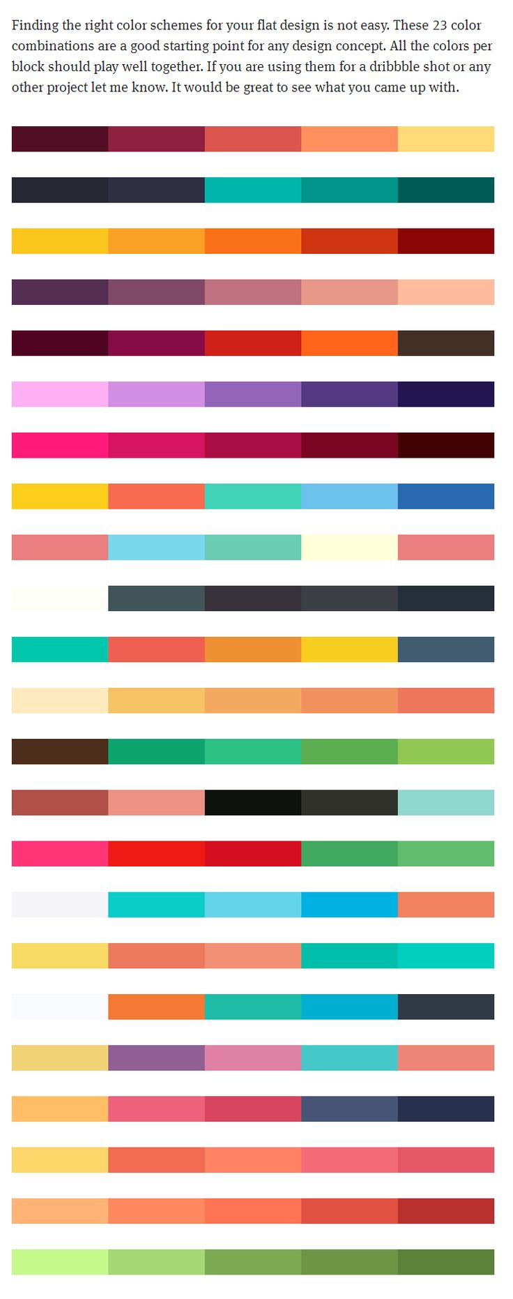 23 color schemes as an inspiration or starting point for