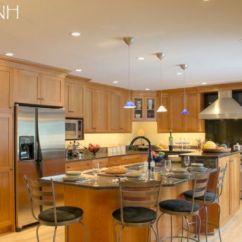 Kitchen Island Hood Lights Under Cabinets Transitional Kitchen- Full Height Backsplash Behind The ...