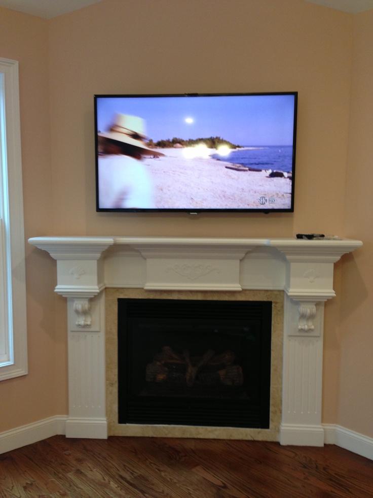 TV over fireplace hidden cable box  Fireplace ideas