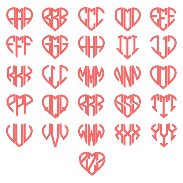 Heart Monogram Svg Cuttable Font My Cricut Pinterest