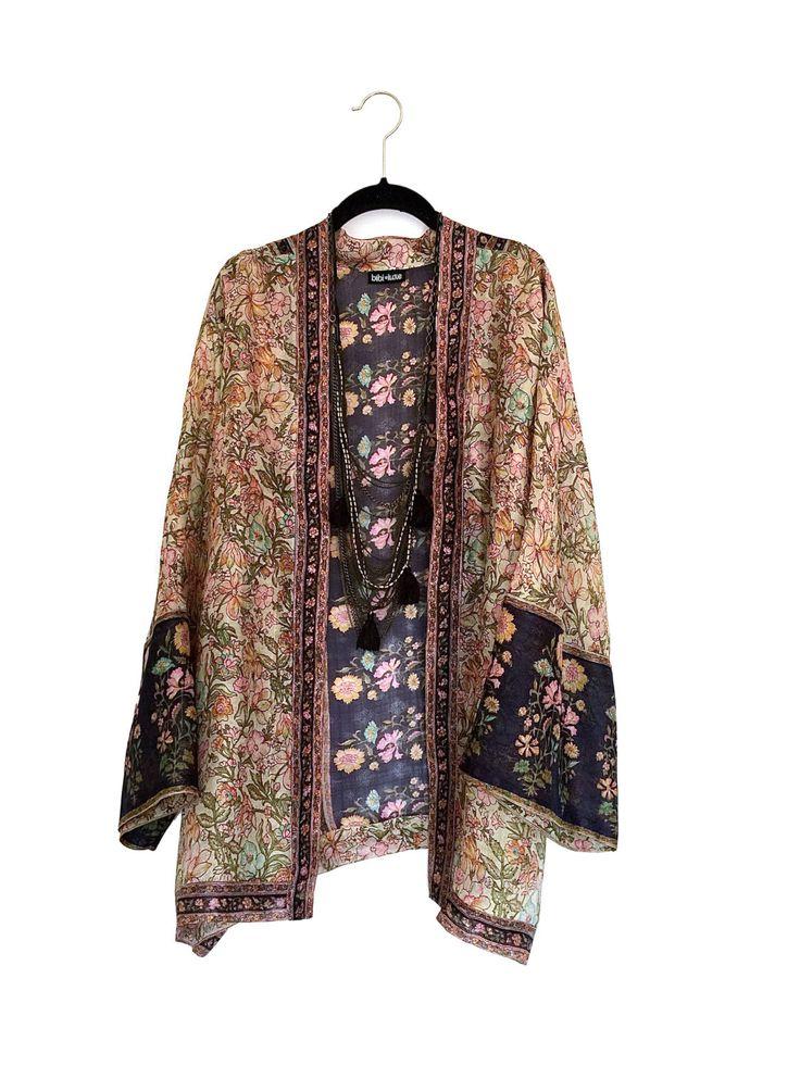 Silk Kimono jacket beige and navy vintage floral border print  Silk kimono Kimono jacket and