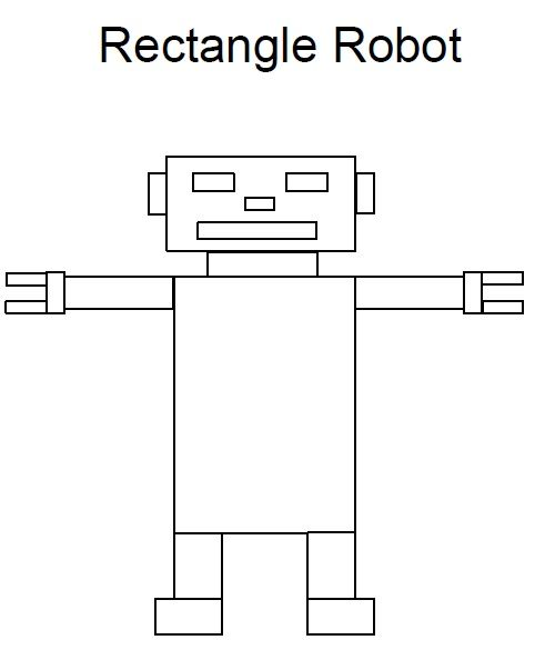 Rectangle Worksheet Robot Preschool