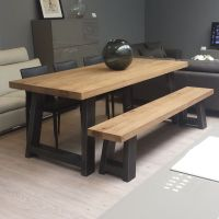 Zeus Wood & Metal Dining Table. Scott doesn't like the
