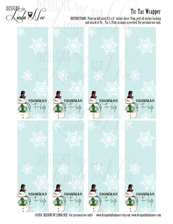 Tic Tac Snowman Poop Printable Party Package Snowmen