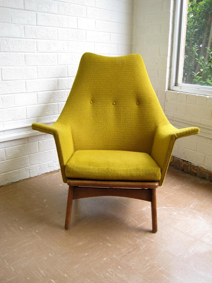 Mid Century Modern Lounge Chair in Mustard Yellow