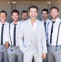 Groomsmen ... skinny ties, no jackets, maybe suspenders ...
