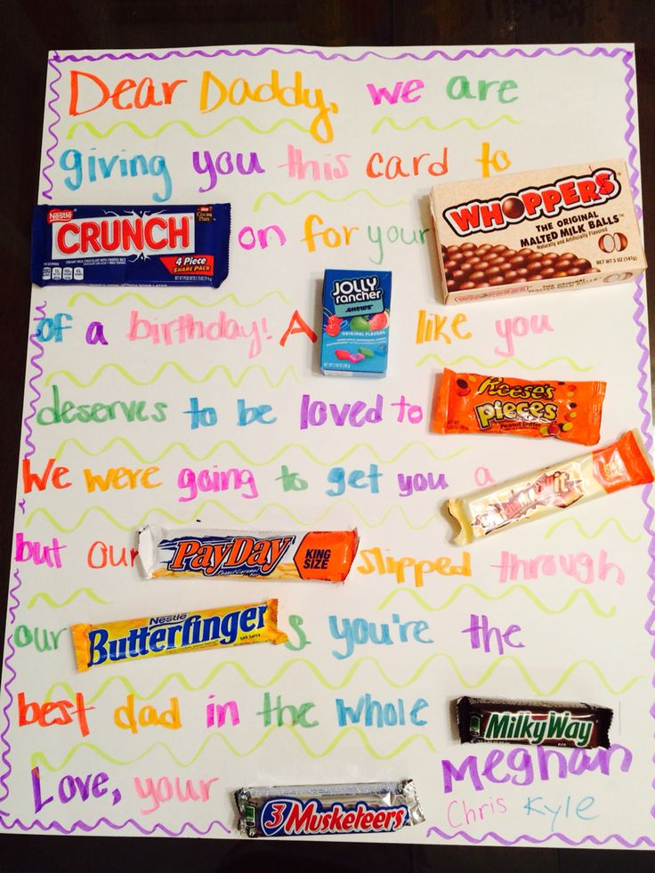 Candy Gram For Dad's Birthday From The Kids DIY