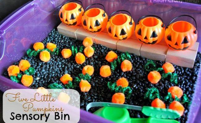 Five Little Pumpkins Sensory Bin I Heart Crafty Things
