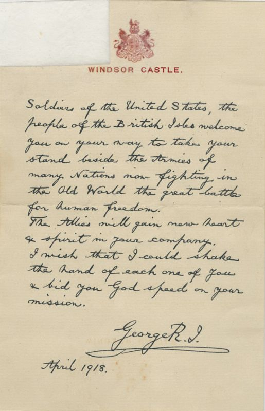 Letter To American Soldiers From King George Of England