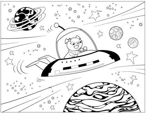 Sputnik Spaceship Coloring Page