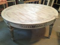 Round Coffee Table Shabby White/ivory distressed finish ...