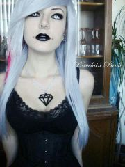 emo girl white hair and pink