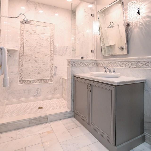 Hampton Carrara Marble Tile Bathroom thetileshop  Marble