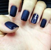 black and navy blue french manicure