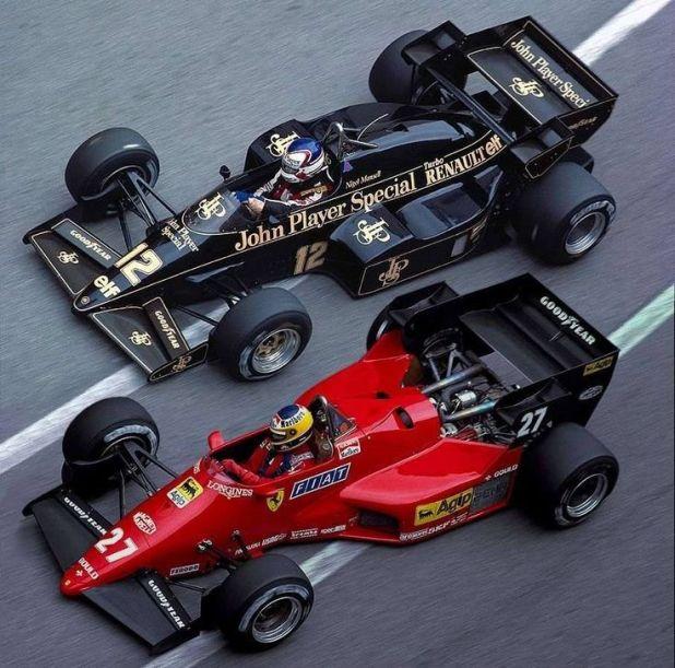 Resultado de imagen de Nigel Mansell Lotus Michele Alboreto Ferrari Monaco GP