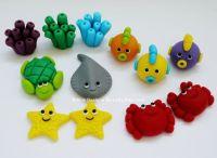12 Edible Fondant Sea Creatures cupcake / cake Topper for ...