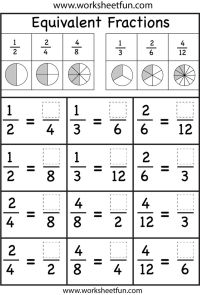 Fourth Grade Equivalent Fractions Worksheet