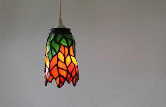 TIGERLILY Hanging Pendant Lamp Featuring A Vintage Stained Glass Lamp Shade Orange Amp Green