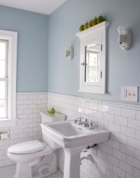 subway tiles w/ chair rail top