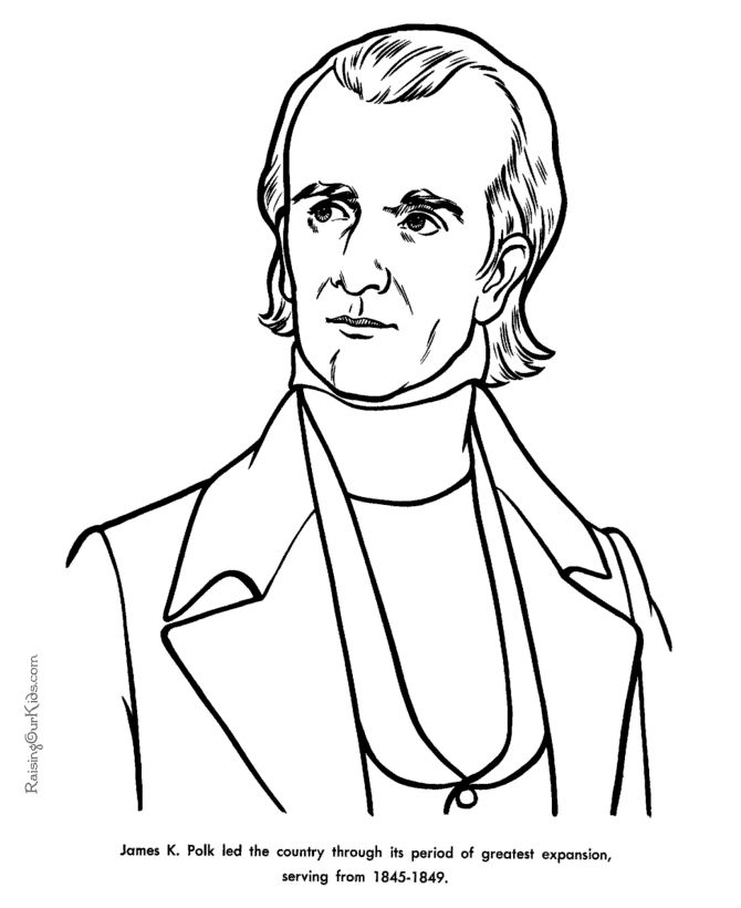 Free printable President James K. Polk facts and coloring