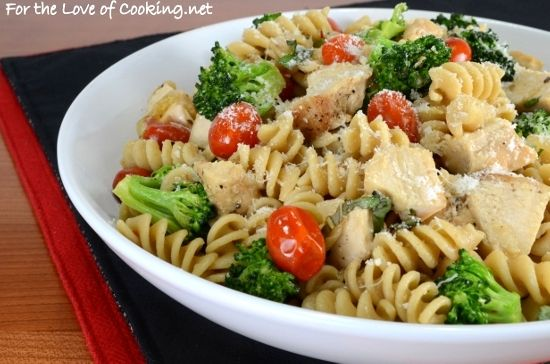 Rotini Pasta with Chicken, Broccoli, Tomatoes, Parmesan, and Fresh