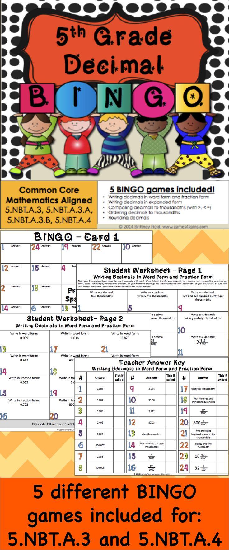 5th Grade Decimal Games 5 Decimal Bingo Games (5nbt3, 5nbt4)  Bingo, Plays And Common Core