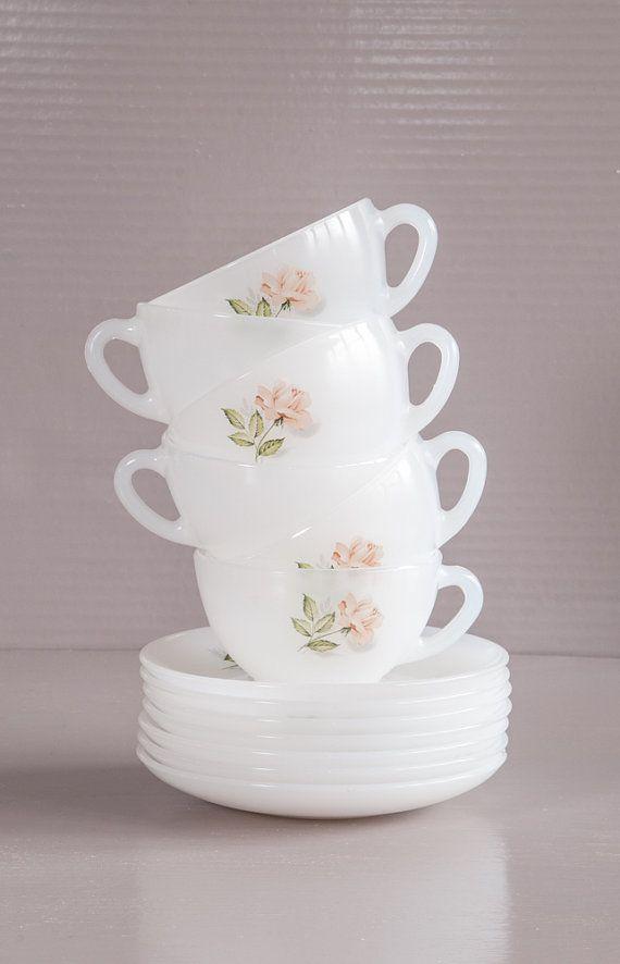 navy blue kitchen decor orange wallpaper vintage french milk glass tea set. 6 arcopal cups and ...