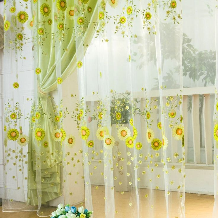 swag curtains for kitchen origami folding island cart ropalia sunflower tulle voile window drape panel sheer ...