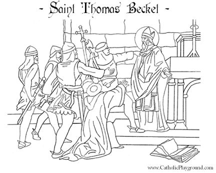 St Thomas Becket Catholic coloring page. Feast day is