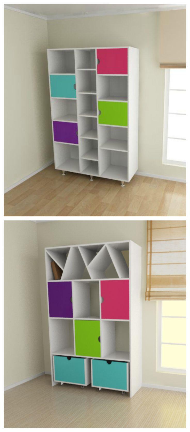 Mueble Biblioteca especial para el dormitorio de los nios