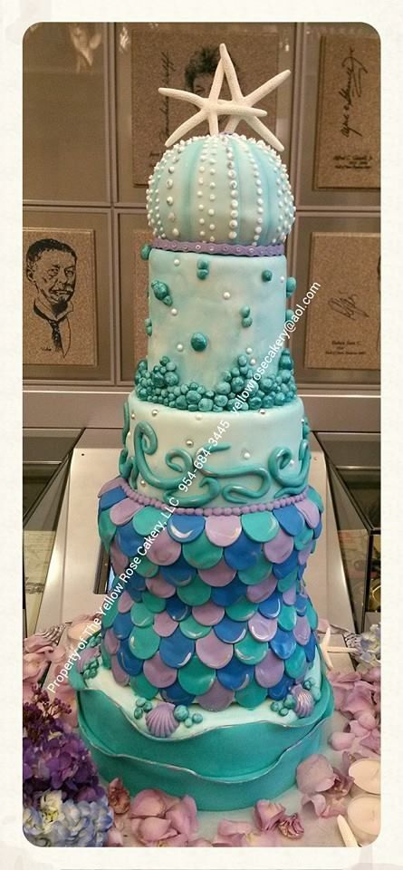 All Edible Mermaid Themed Wedding Cake Wwwfacebookcom