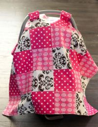 Baby carseat canopy, carseat cover, quilted patchwork ...