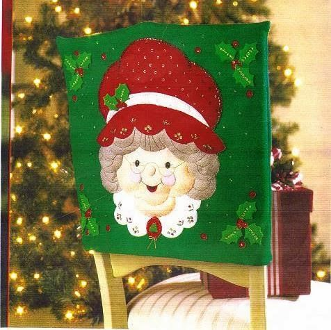 chair covers range brown leather recliner molde cubresilla señora claus | muÑecos navideÑos pinterest