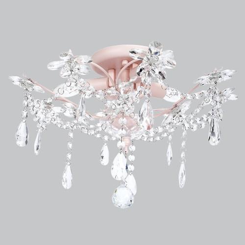 Kids Ceiling Flush Mount Chandelier Crystal Pink Decor
