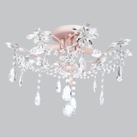 Kids Ceiling Flush Mount Chandelier Crystal Pink Decor