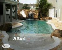 very small backyard pool. sun deck, grotto, slide ...