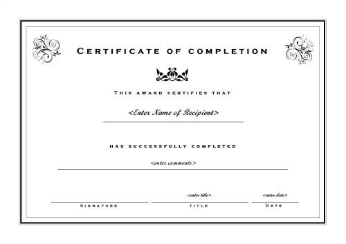 Free Printable Certificate Of Completion Template Image