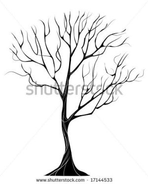 black silhouette of stylized thin tree without leaves on a white background by Black moon, via