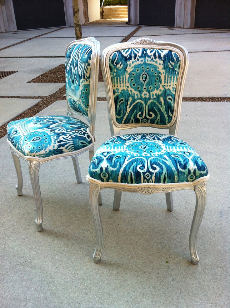Ikat French Louis XVI Dining Chairs Pair Burlap