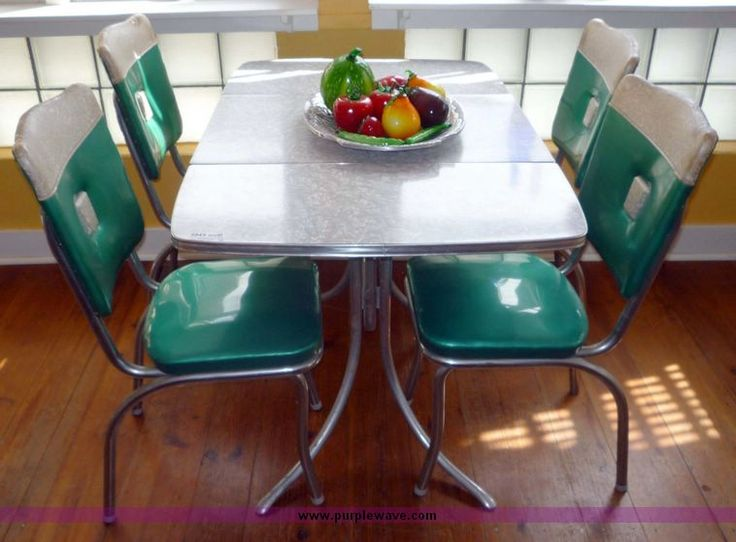 retro kitchen table and chairs set cabinets paint 1960's chrome dining | formica tables ...