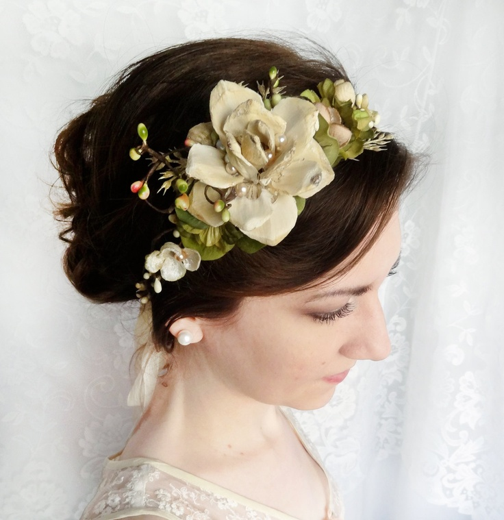 woodland wedding headpiece cream flower champagne