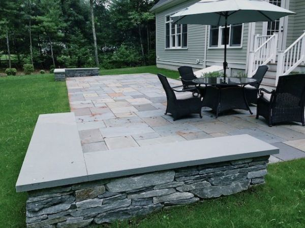 rectangle patio seating wall