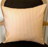 Orange creme ticking stripes white decorative throw pillow ...