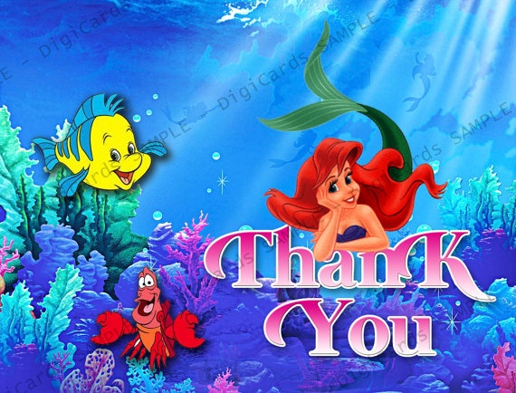 The Little Mermaid Thank You Card By DigiCards On Etsy 4