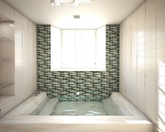 Open Sunken Shower Stall With Integrated Step Down Tub I