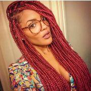 red box braids black girl afro