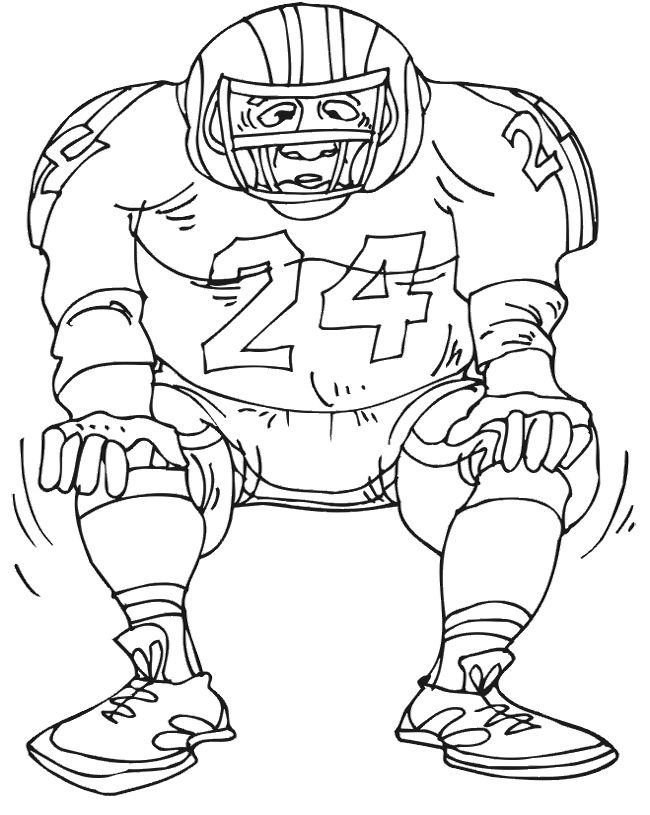 Football Player Number 24 Coloring Page DRAWING