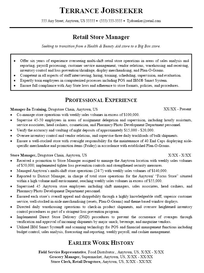 resume summary for retail store manager