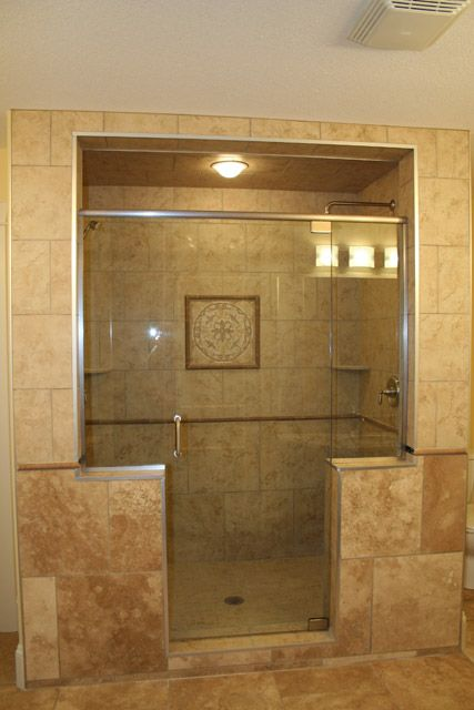 Custom Walk In Showers   with granite counter top and